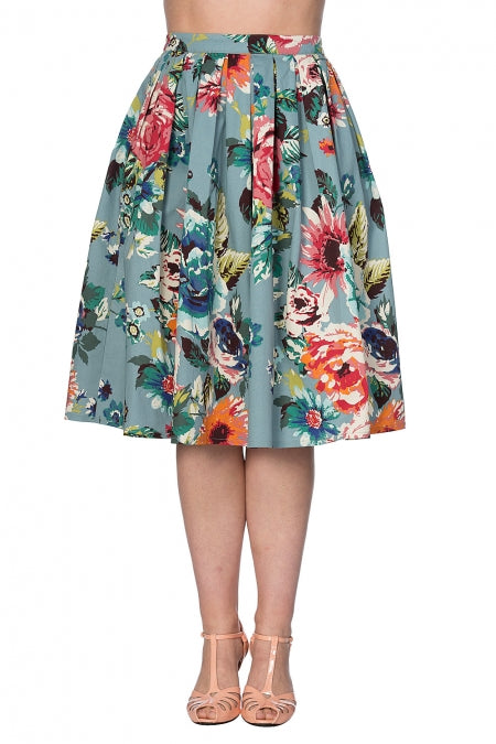 Banned Clothing - Flare Floral Skirt