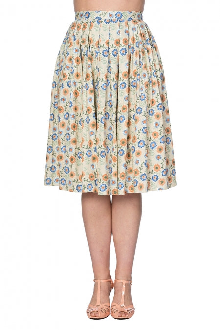 Banned Clothing - Flower Power Pleat Skirt