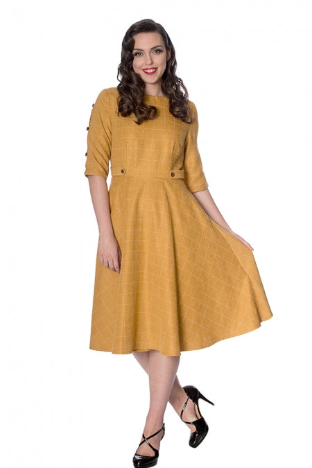 Banned Clothing - Lets Library Cheeky Check Fit And Flare Dress
