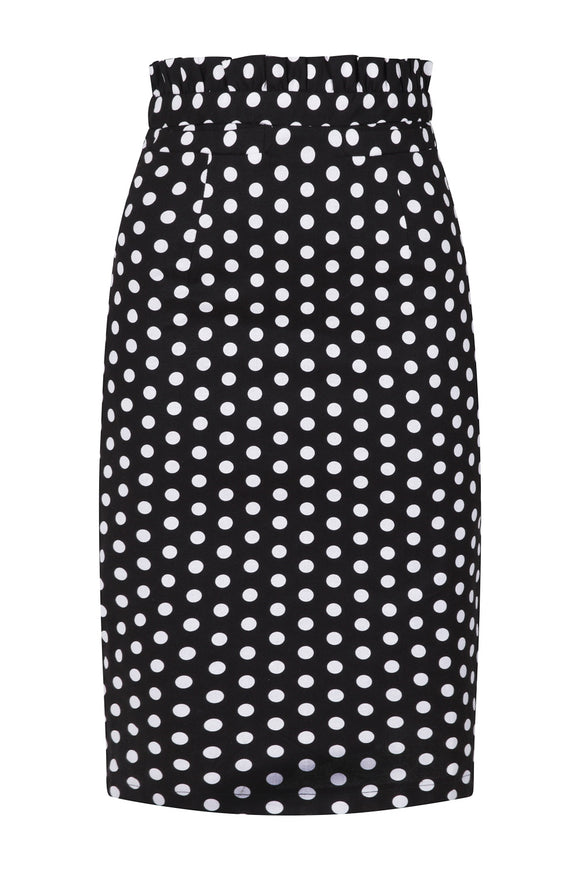 Banned Clothing - Polka Frill Pencil Skirt
