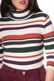 Banned Clothing - Polo Neck Stripe Rib Jumper