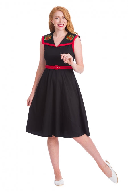 Banned Clothing - Strawberry Fields Collar Swing Dress