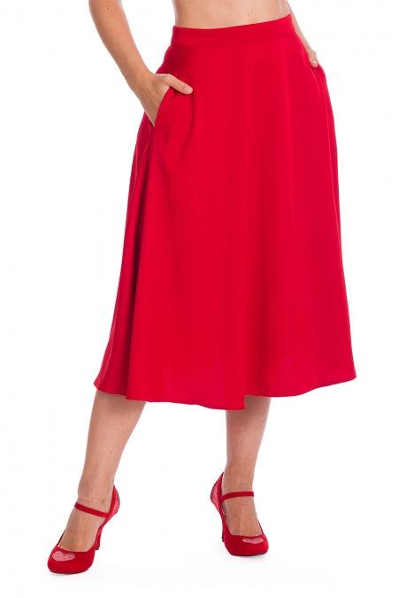 Banned Clothing - Strawberry Red Swing Skirt