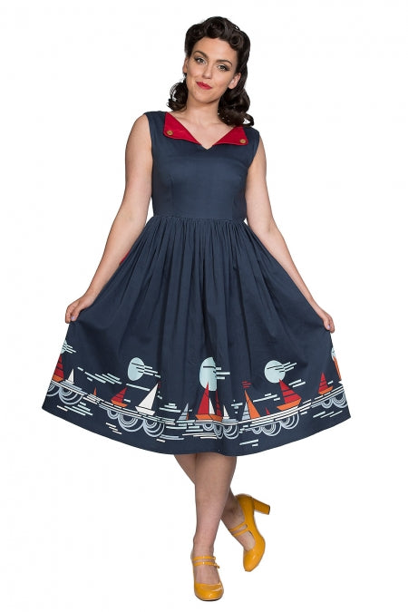 Banned Clothing - Summer Sail Fit And Flare Dress