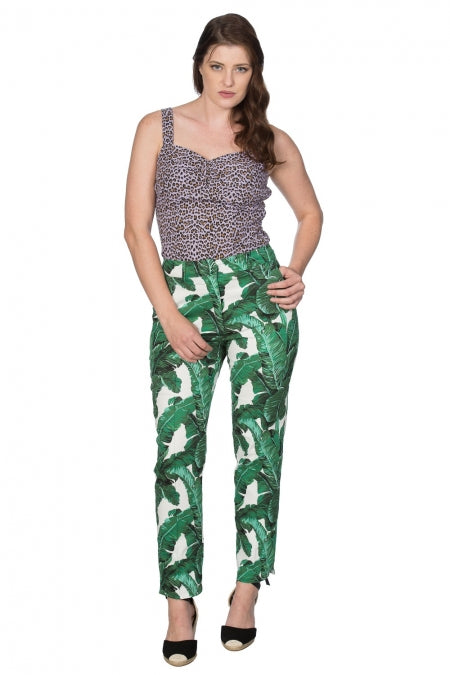 Banned Clothing - Tropical Leaves Trouser