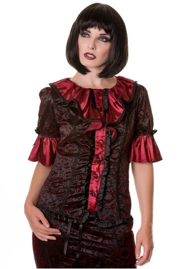 Banned Apparel - Burgundy Steampunk Ivy Pattern Top - Egg n Chips London