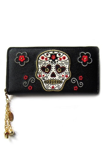Banned Apparel - Black Sugar Skull Wallet - Egg n Chips London