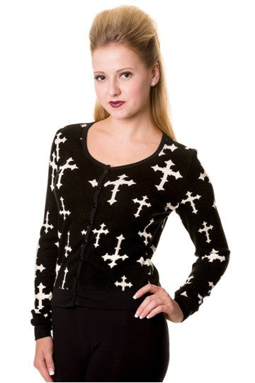 Banned Apparel - Black Cross Occult Symbols Cardigan - Egg n Chips London