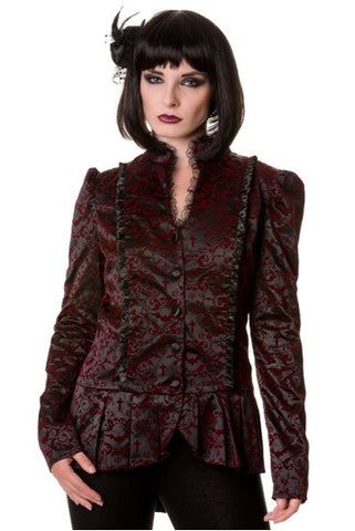 Banned Apparel - Black Gothic Ivy Pattern Steampunk Jacket