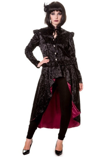 Banned Apparel - Black Gothic Ivy Pattern Long Jacket - Egg n Chips London