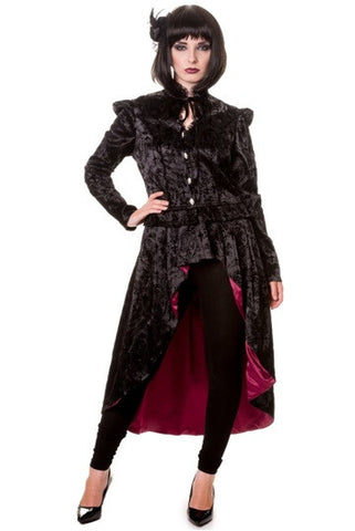 Banned Apparel - Black Gothic Ivy Pattern Long Jacket