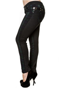 Banned Apparel - Black and Green Tartan Skinny Jeans - Egg n Chips London