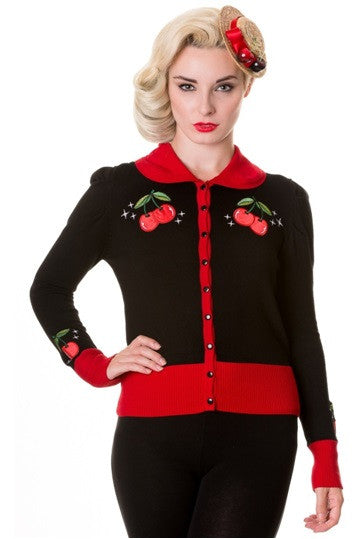 Banned Apparel - Black Red Vintage Cherry Cardigan - Egg n Chips London