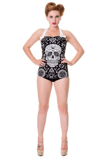 Banned Apparel - Black Skull Pentagram Swimsuit - Egg n Chips London