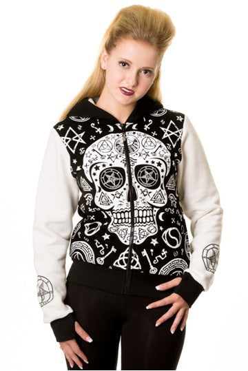 Banned Apparel - Black White Skull Pentagram Hoodie - Egg n Chips London