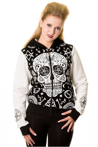 Banned Apparel - Black White Skull Pentagram Hoodie