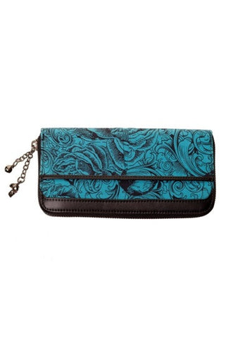 Banned Apparel - Blue Skull And Roses Wallet
