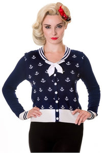 Banned Apparel - Blue Small Anchors Cardigan - Egg n Chips London