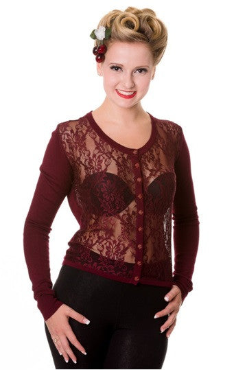 Banned Apparel - Burgundy Steampunk Lace Cardigan - Egg n Chips London