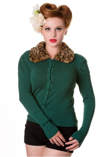 Banned Apparel - Forest Green Fur Cardigan - Egg n Chips London