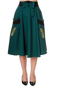 Banned Apparel - Green Peacock Long Skirt - Egg n Chips London