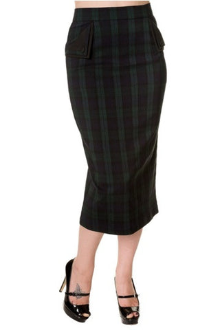 Banned Apparel - Green Tartan Pencil Skirt