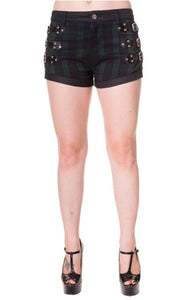 Banned Apparel - Green Tartan Buckle Shorts - Egg n Chips London