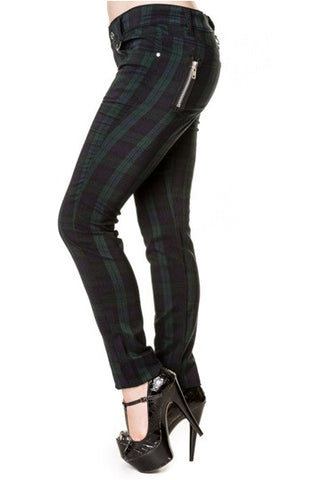 Banned Apparel - Green Tartan Skinny Jeans
