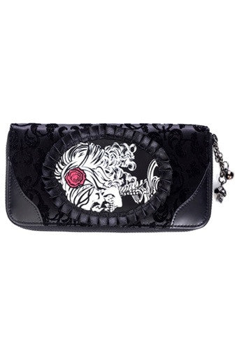 Banned Apparel - Ivy Black Cameo Lady Lace Wallet - Egg n Chips London