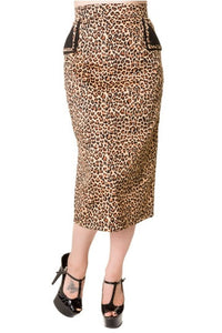 Banned Apparel - Leopard Pencil Skirt - Egg n Chips London