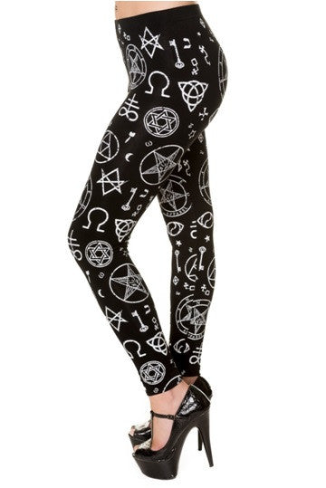 Banned Apparel - Pentagram Black Leggings - Egg n Chips London