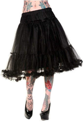 Banned Apparel - Petticoat Black Long Skirt - Egg n Chips London
