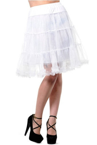 Banned Apparel - Petticoat White Calf Length Skirt - Egg n Chips London