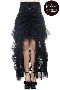 Banned Apparel - Plus Size Black Lace Victorian Skirt - Egg n Chips London