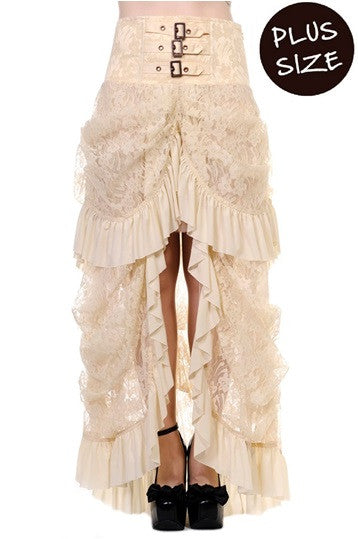 Banned Apparel - Plus Size Offwhite Lace Victorian Skirt - Egg n Chips London