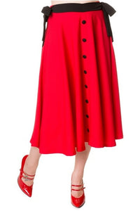 Banned Apparel - Red Buttons Long Skirt - Egg n Chips London