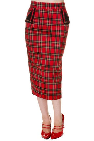 Banned Apparel - Red Tartan Pencil Skirt