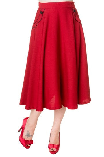 Banned Apparel - Red Retro Long Skirt - Egg n Chips London