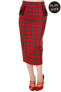 Banned Apparel - Red Tartan Plus Size Pencil Skirt - Egg n Chips London