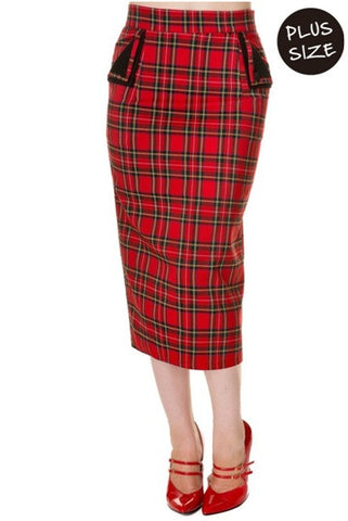 Banned Apparel - Red Tartan Plus Size Pencil Skirt