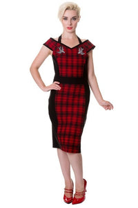 Banned Apparel - Red Tartan Swallows Pencil Dress - Egg n Chips London