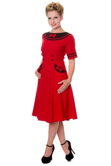 Banned Apparel - Red Eliza Dress - Egg n Chips London