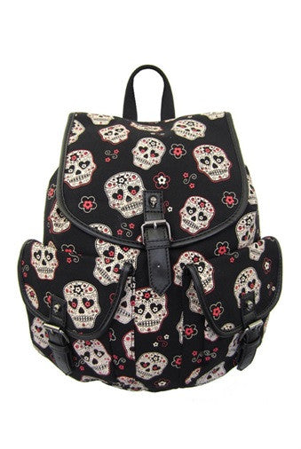 Banned Apparel - Sugar Skull Backpack - Egg n Chips London