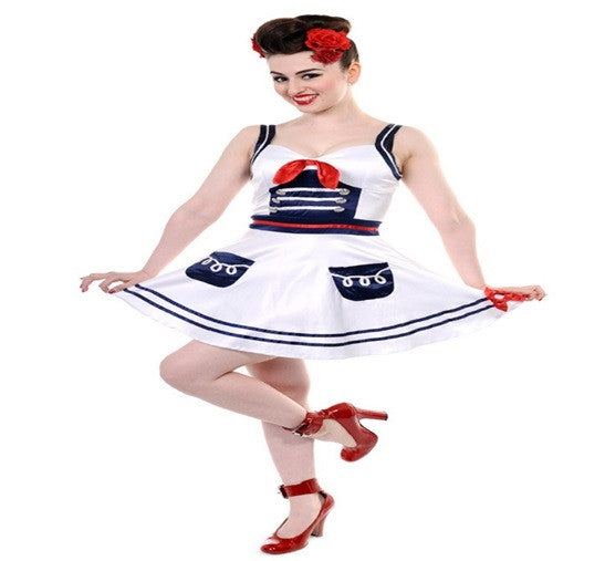 Banned Apparel - White Nautical Mini Dress - Egg n Chips London