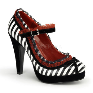 Pin Up Couture - Bettie Black White Pu Platform Pump - Egg n Chips London