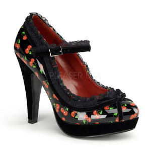 Pin Up Couture - Bettie Black Patent Platform Pump with Cherries Print - Egg n Chips London