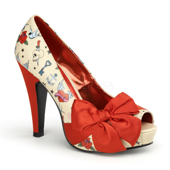 Pin Up Couture - Bettie Cream Pu-Red Satin Platform Pump with Tattoo Print - Egg n Chips London