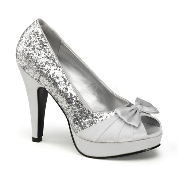 Pin Up Couture - Bettie Silver Glitter Satin Peep Toe Heels - Egg n Chips London