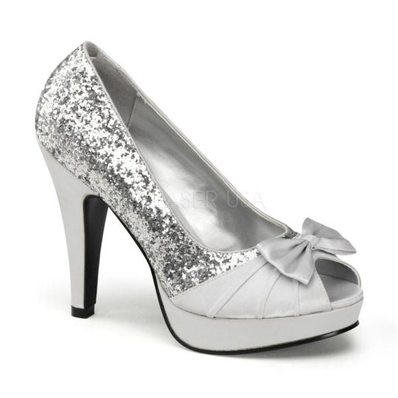 Pin Up Couture - Bettie Silver Glitter Satin Peep Toe Heels SALE ITEM