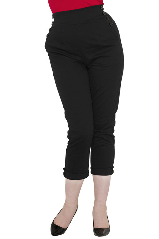 Voodoo Vixen - Black Henrietta Capri Pants - Egg n Chips London